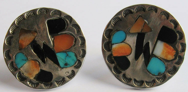 Vintage Zuni Indian Sterling Inlay Turquoise Coral Lightening Bolts Cufflinks Ebay