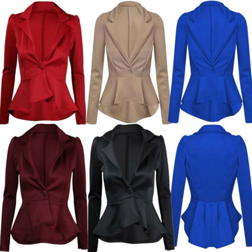 Womens Ladies Smart Fit Casual Office Frill One Button ...
