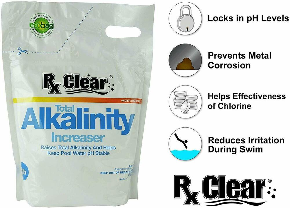 Rx Clear Swimming Pool Alkalinity Up Increaser Plus Sodium Bicarbonate 5 Lbs Ebay