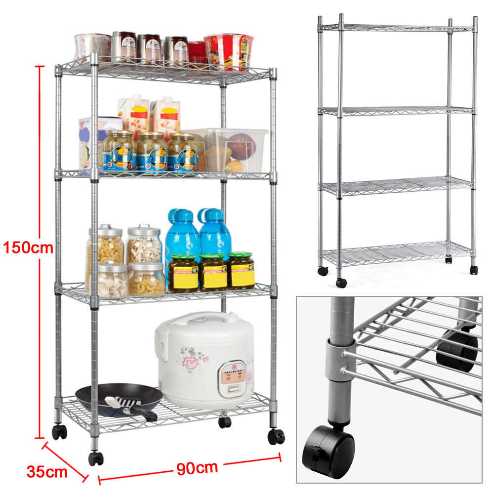 Kitchen Shelf Metal: Heavy Duty 4-Tier Chrome Metal Kitchen Storage Unit Shelf