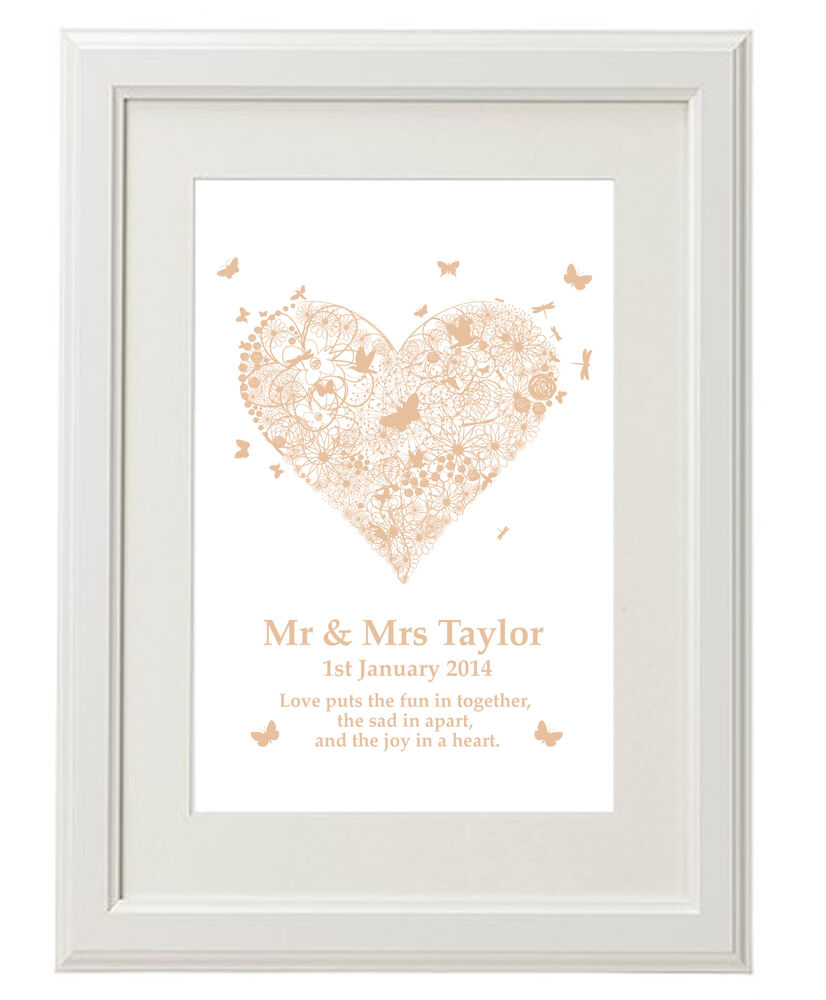 One Month Wedding Anniversary Ideas: Unique Unusual Personalised Print / Wedding 1st