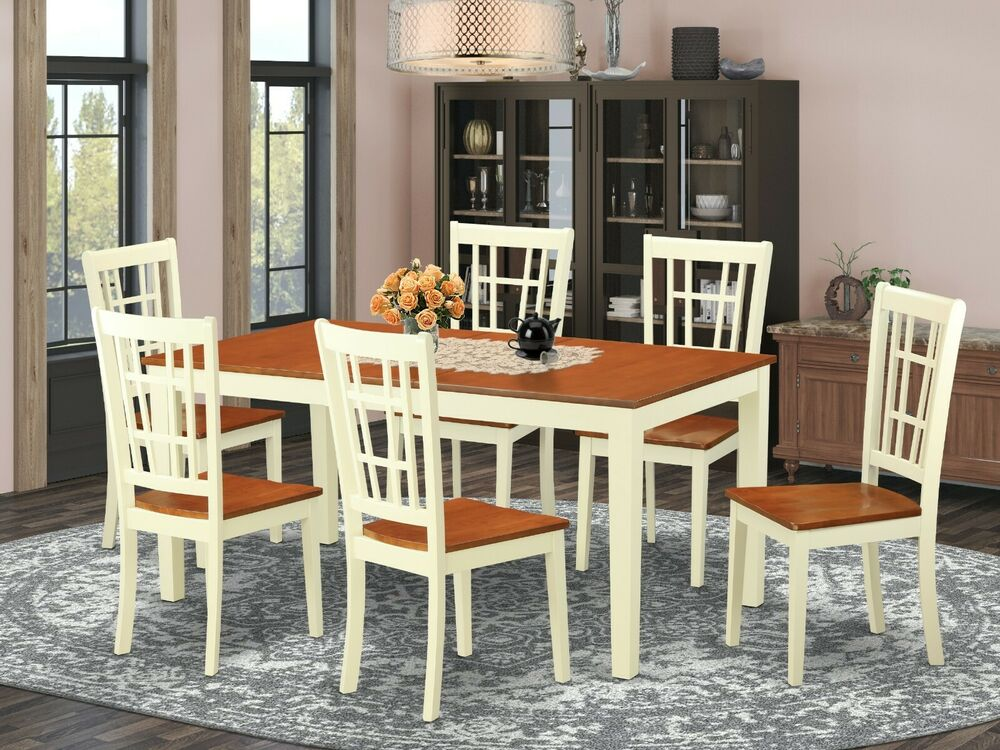 7 Pc Dinette Kitchen Dining Table With 6 Wood Seat Chairs
