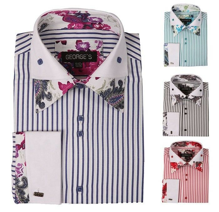 Men 39 s fashion casual french cuff dress shirt with double for French collar dress shirt