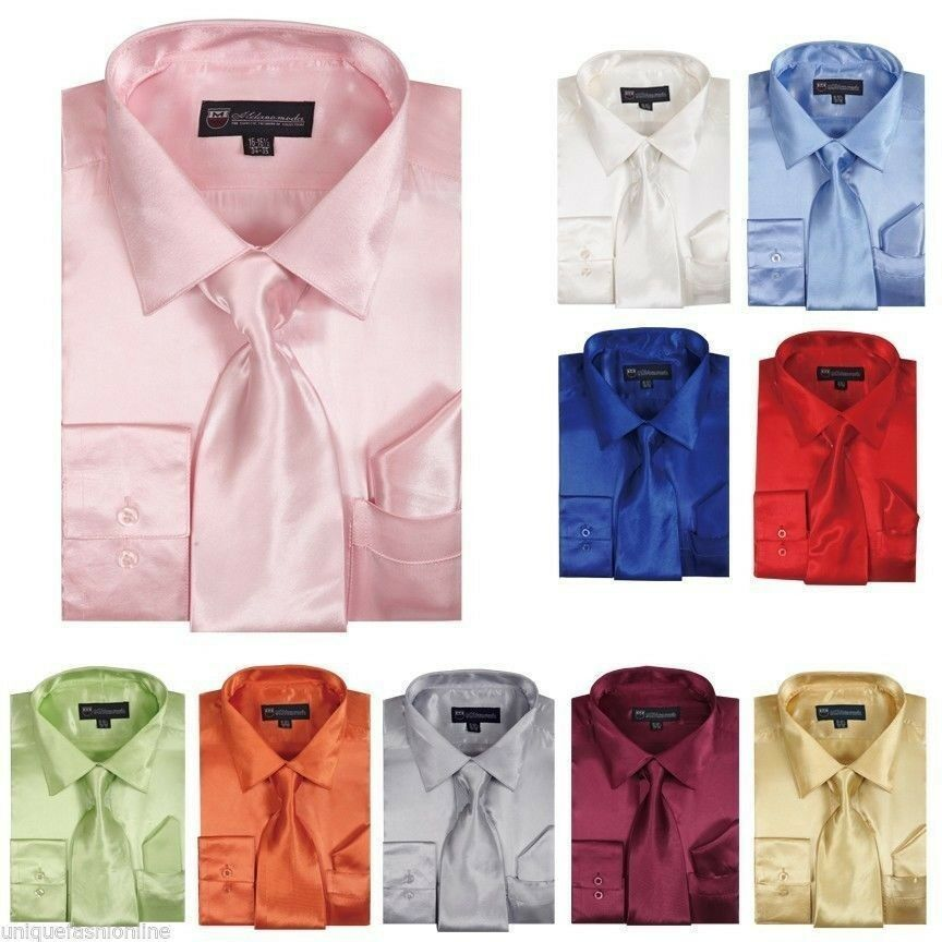Men's Shiny Satin Dress Shirt with Matching Tie and ...