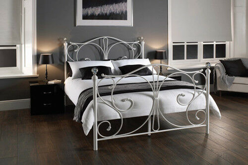 White Metal Bed Frame With Crystal Finials