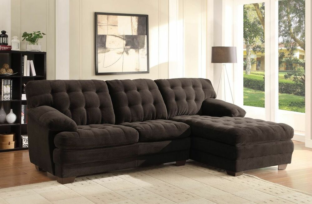 tufted living room furniture oversized brown microfiber tufted sofa chaise sectional 12668