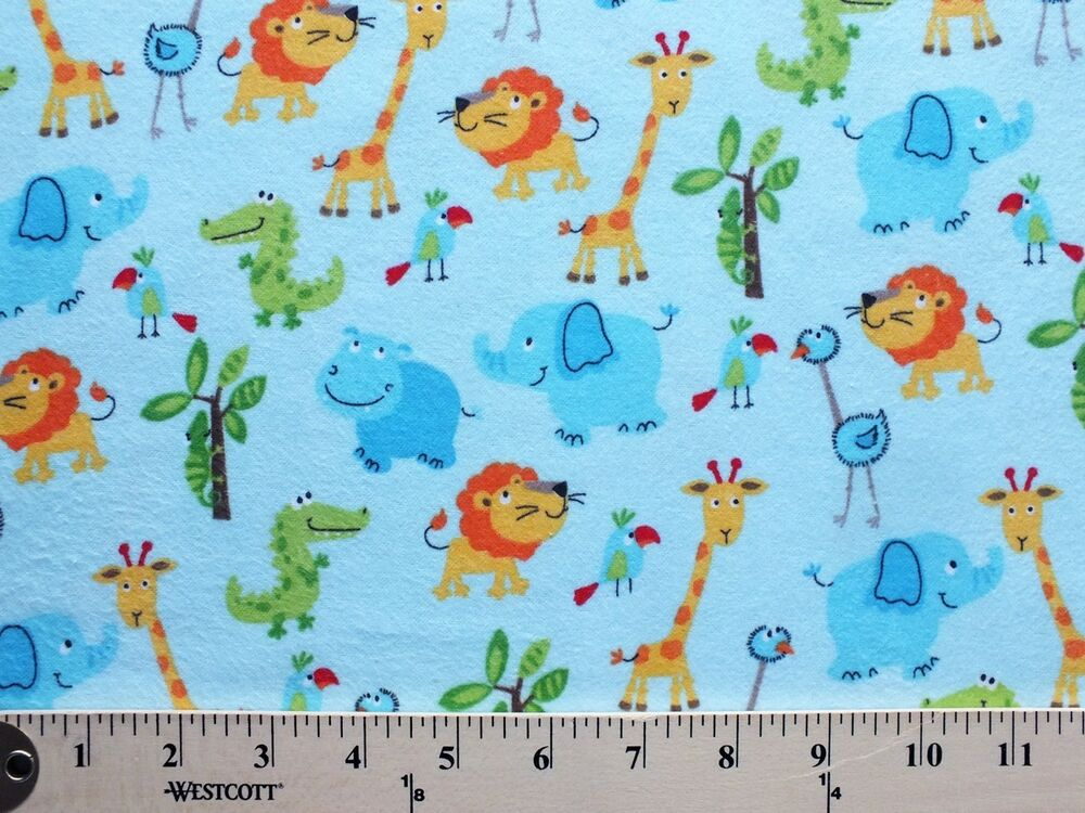 Flannel cute zoo animals on light blue kids flannel cotton for Cute childrens fabric