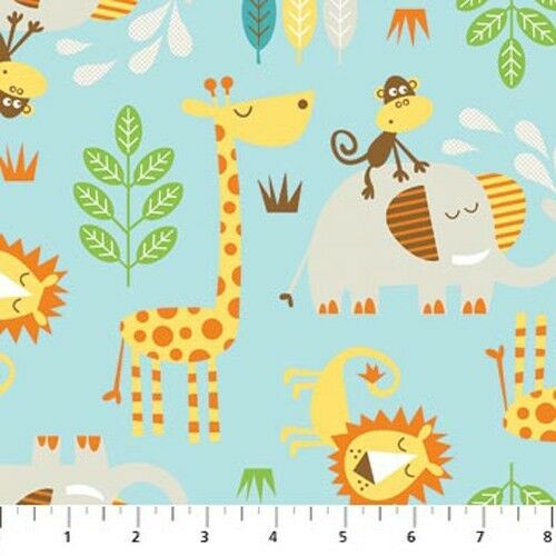 Cotton kids safari zoo animal animals lion monkey giraffe for Animal print fabric for kids