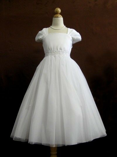 Flower girl cap sleeved beaded white dress first holy for Making baptism dress from wedding gown