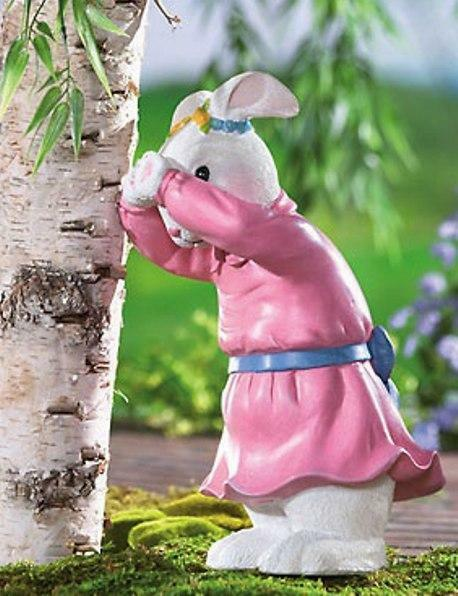 Whimsical easter bunny garden statue yard art figurine new for Whimsical garden statues