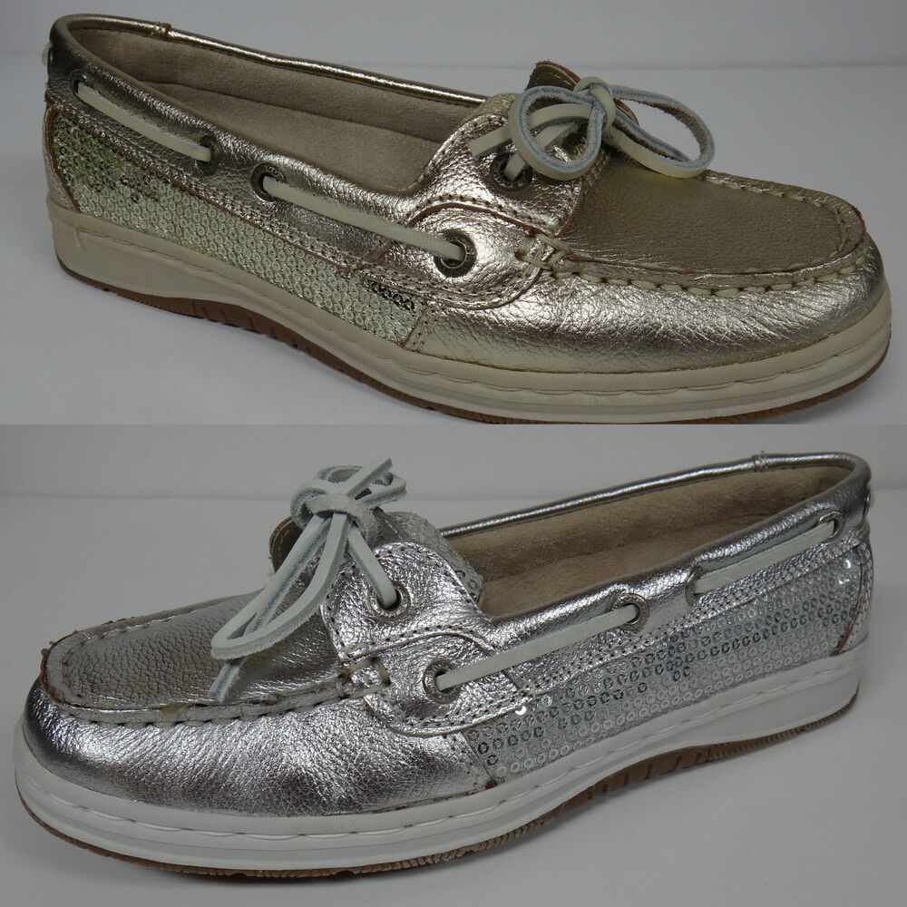SEBAGO SKIMMER WOMEN'S CASUAL BOAT SHOES SEQUIN GOLD or ...