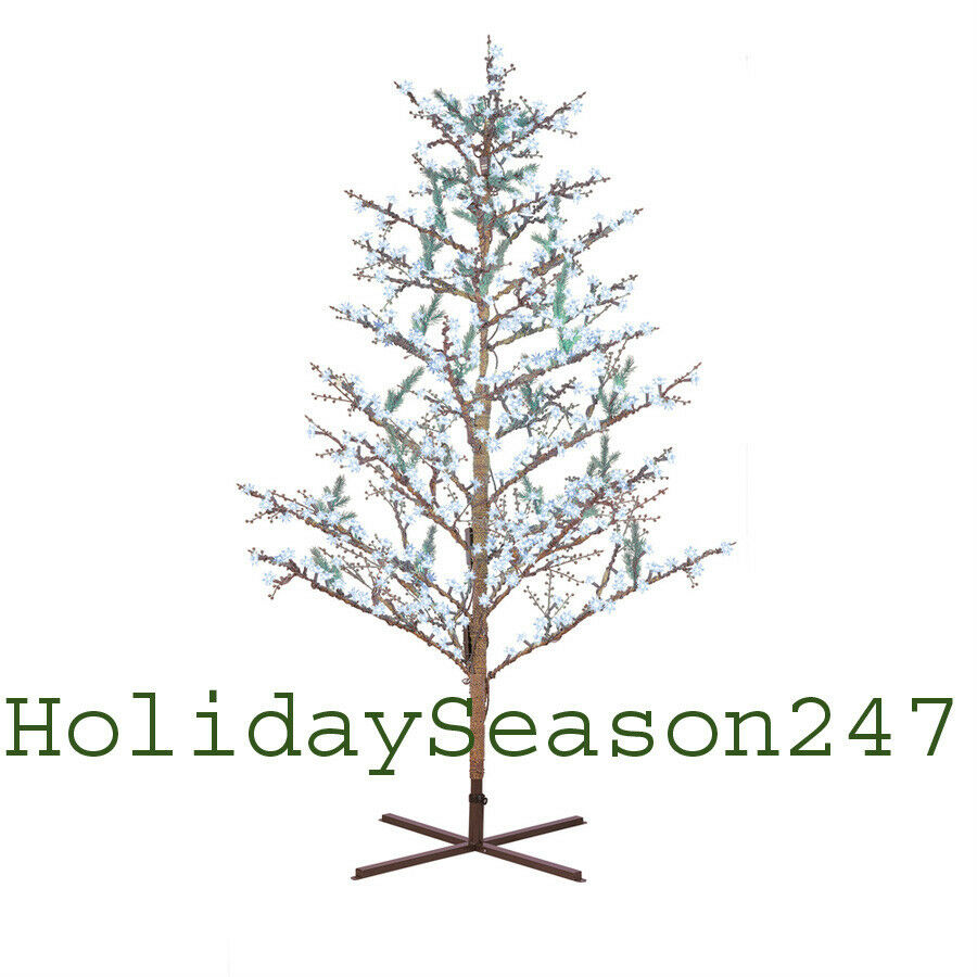 8ft Christmas Tree Pre Lit: GE 8Ft LED Cool White Pre-Lit Brown Branch Tree Holiday