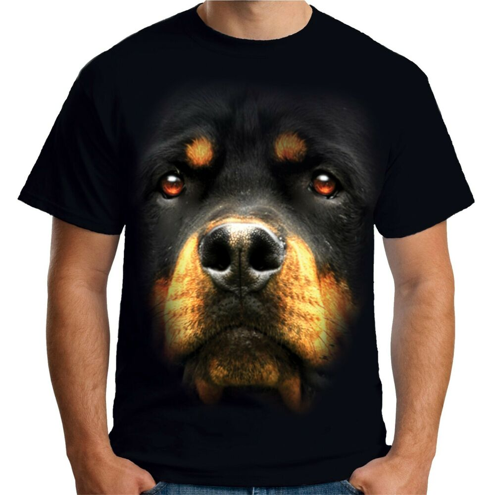 Velocitee new mens rottweiler face t shirt big dog head for Dog t shirt for after surgery