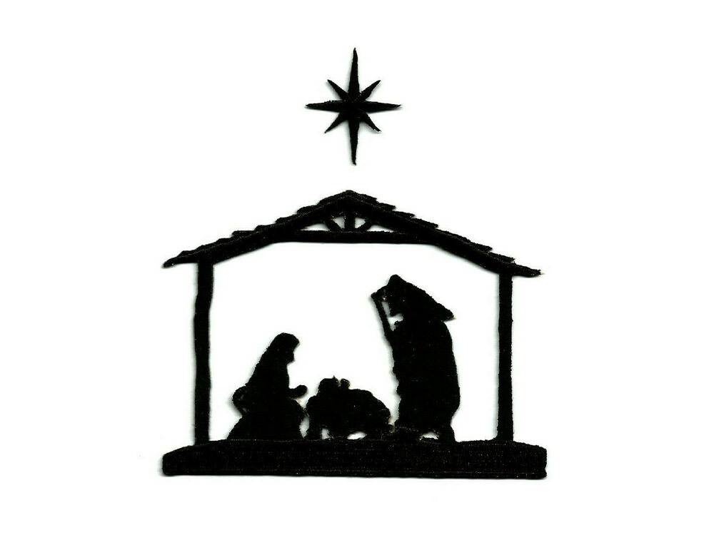 Nativity Christmas Black Silhouette Embroidered Iron