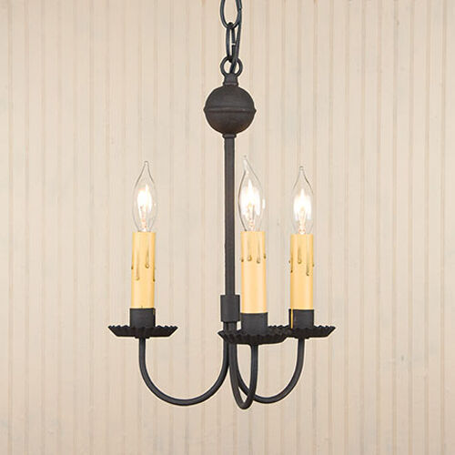 Petite 3-Arm Primitive Chandelier Textured Black small Light Fixture ...