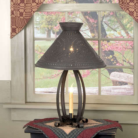 Betsy Ross Lamp With Chisel Punched Tin Design Primitive