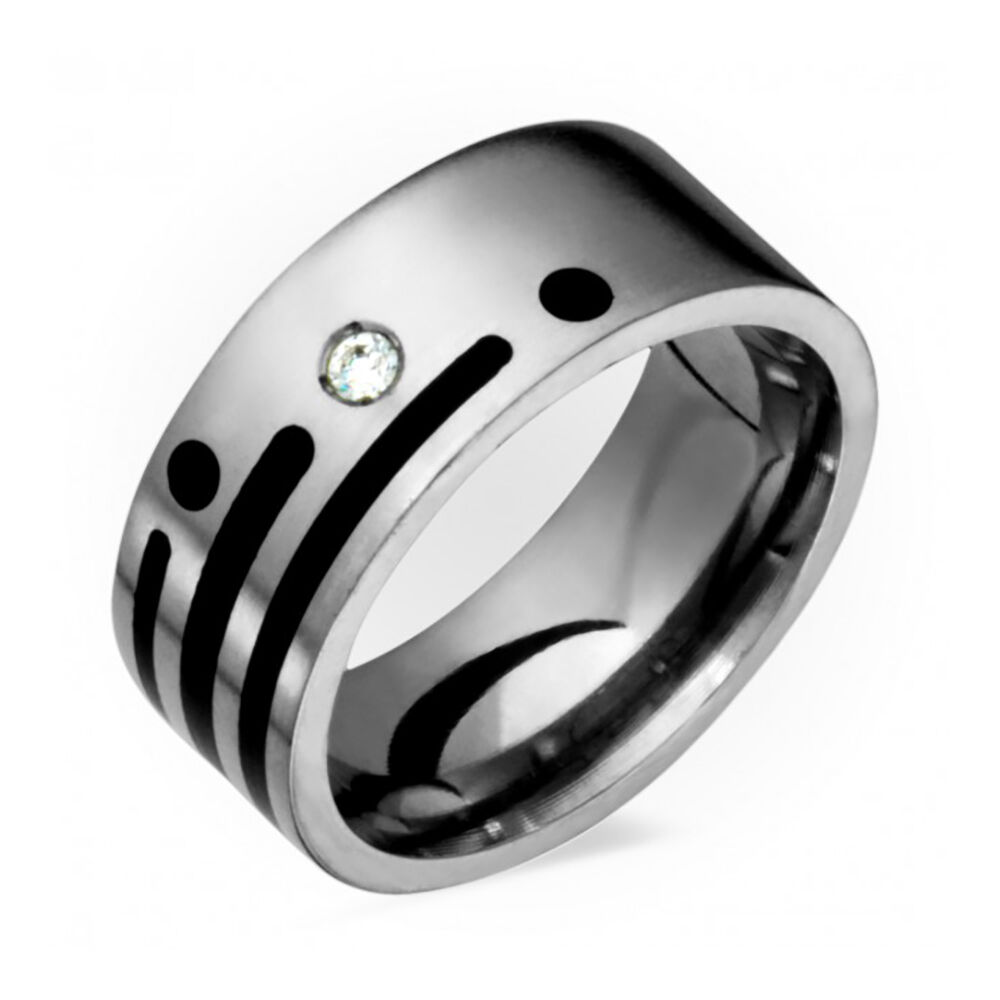 Mens Titanium Diamond Wedding Band with Black Resin 8mm Wide Free