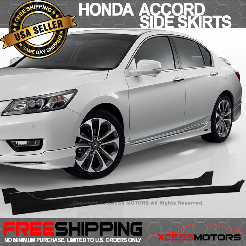 Sport Turbo Rs Rear Bumper Black Lip Diffuser For 2016: 13-16 Honda Accord 4Dr MODULO Style Side Skirts Unpainted