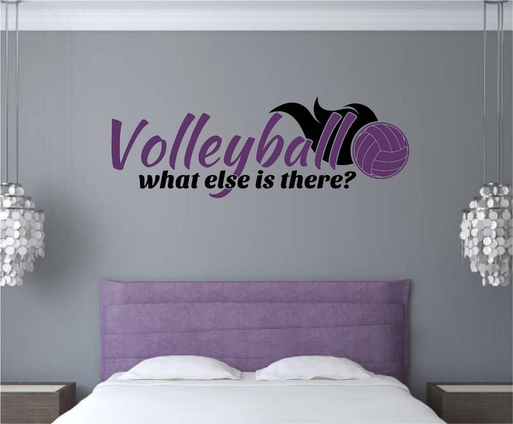Volleyball sports vinyl decal wall stickers words letters for Teen wall decor
