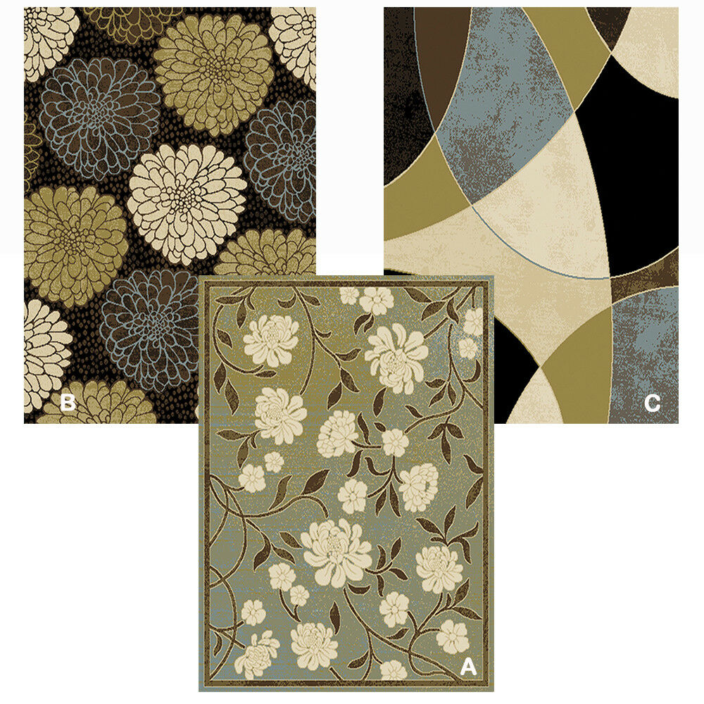 Transitional Floral Area Rug 5x8 Modern Geometric Carpet