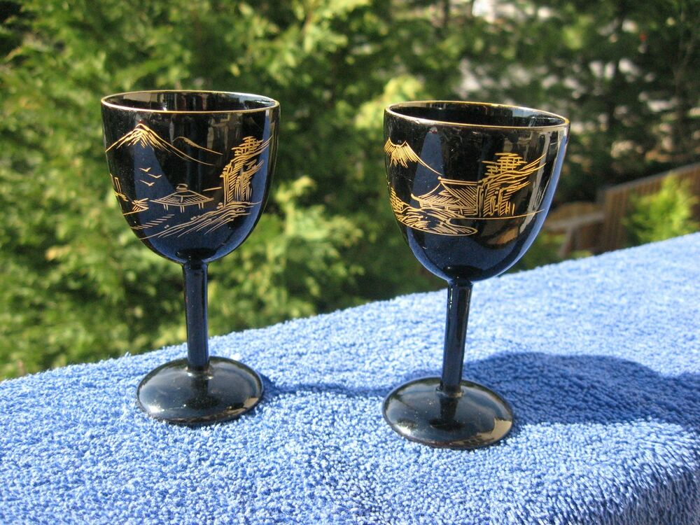 Vintage Set Of Two Wooden Shot Glasses Hand Panted Asian