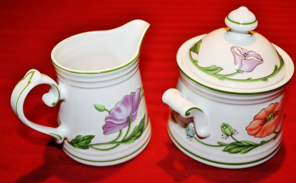 villeroy and boch amapola cream pitcher sugar bowl set. Black Bedroom Furniture Sets. Home Design Ideas