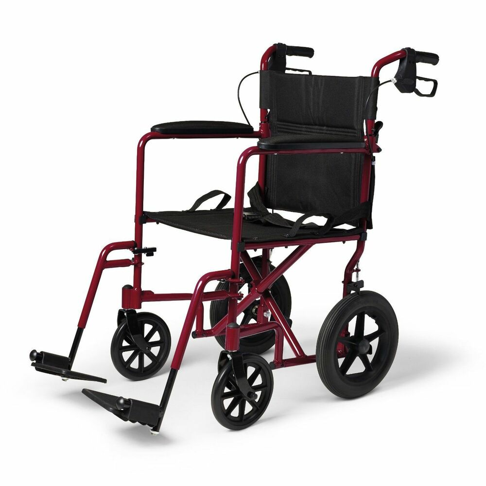 New medline transport chair wheelchair with brakes red ebay for Mobility chair