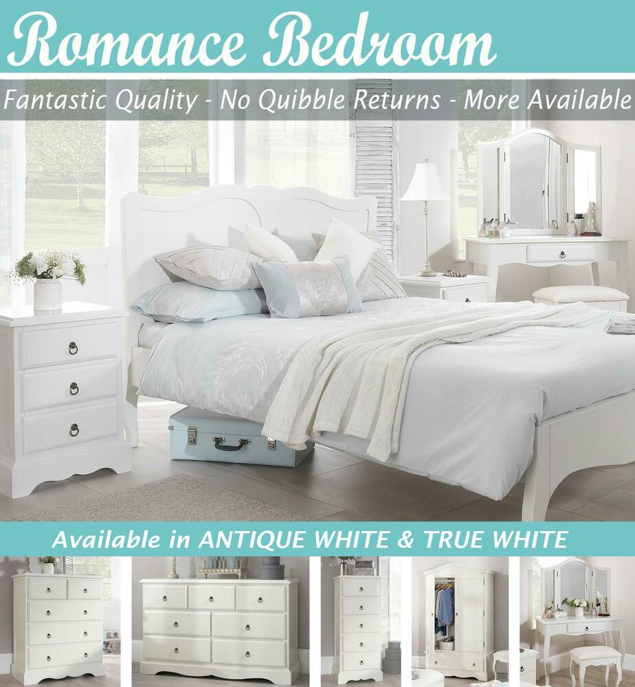 romance white bedroom furniture, bedside table, chest of drawers