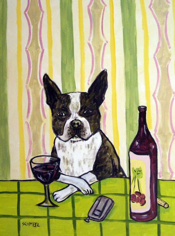 Boston terrier at the wine bar signed dog art print for Wine and paint boston