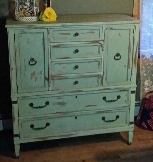 beautiful green blue distressed shabby chic armoire server rustic furniture ebay. Black Bedroom Furniture Sets. Home Design Ideas