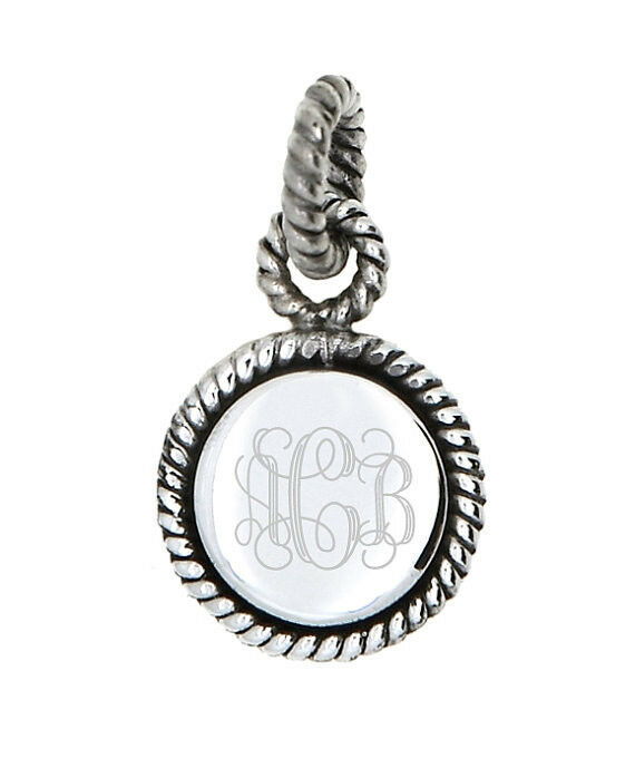 sterling silver monogram personalized engravable rope edge circle round pendant