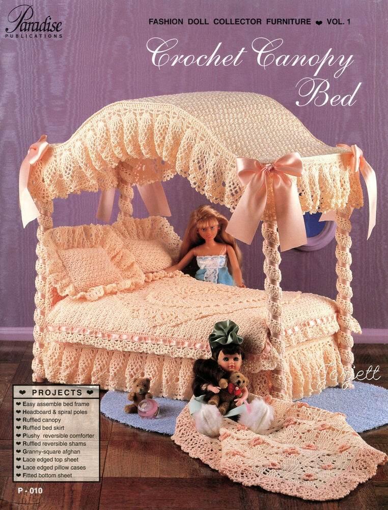 paradise vol 1  crochet canopy bed fashion doll collector furniture patterns