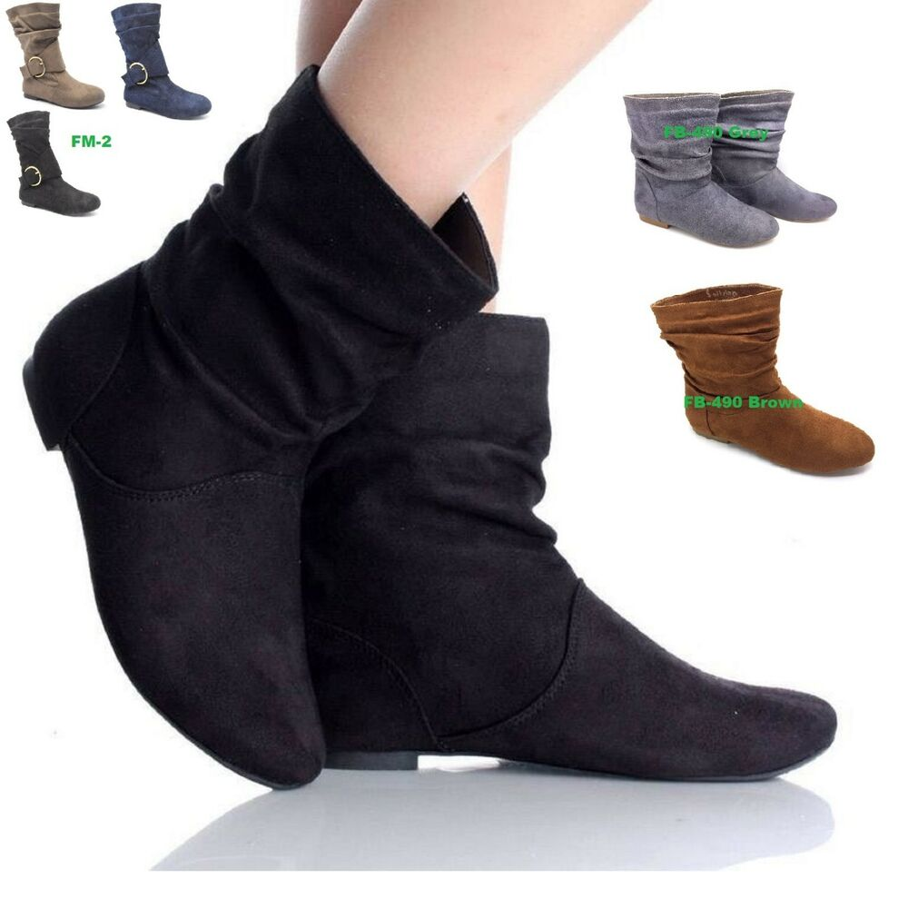 womens ladies faux suede fashion pixie ankle boots flats