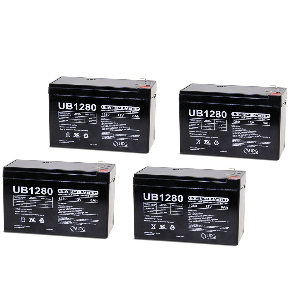 upg 4 pack 12volt 8amp hour rechargeable sealed lead. Black Bedroom Furniture Sets. Home Design Ideas