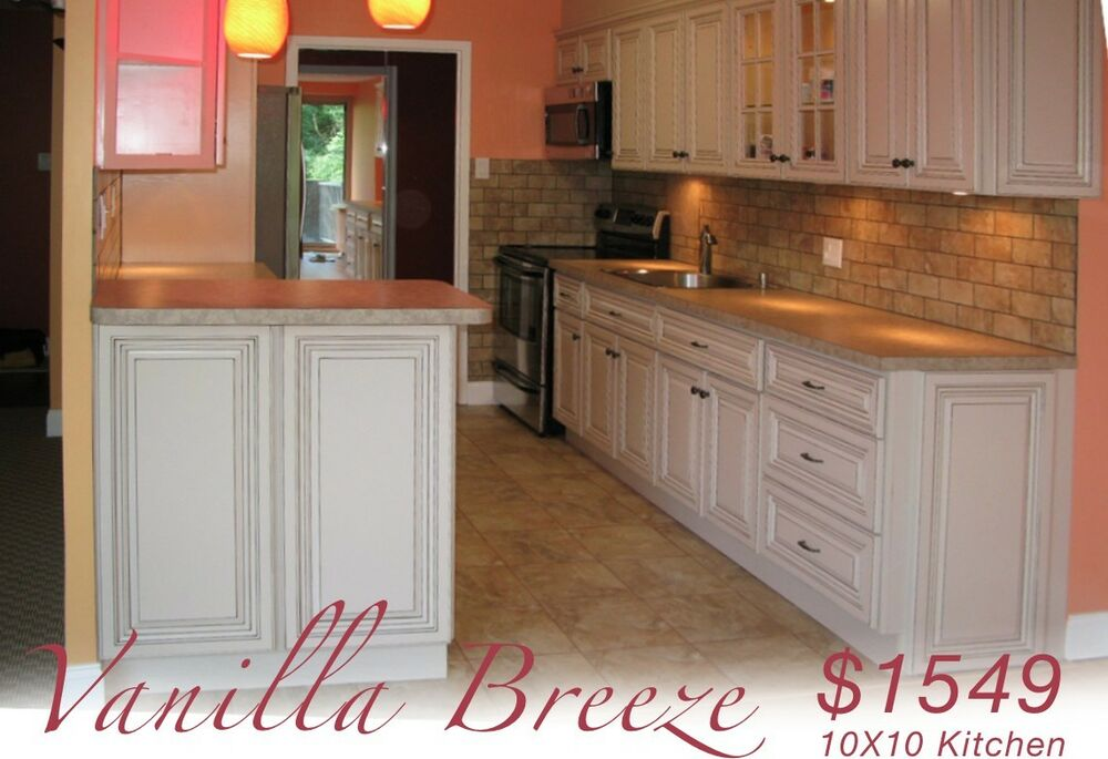 All wood kitchen cabinets 10x10 rta vanilla breeze ebay for Kitchen cabinets 10x10