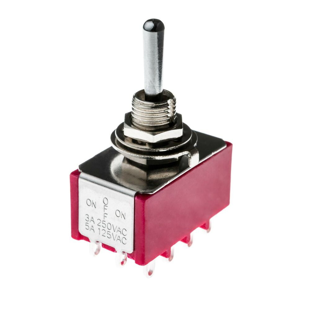 4pdt Four Pole Latching Mini Flick Toggle Switch On Off On
