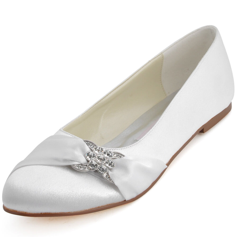 EP2006 Comfot Closed Toe Flat Heel Ballet Rhinestones Satin Wedding Bridal Shoes