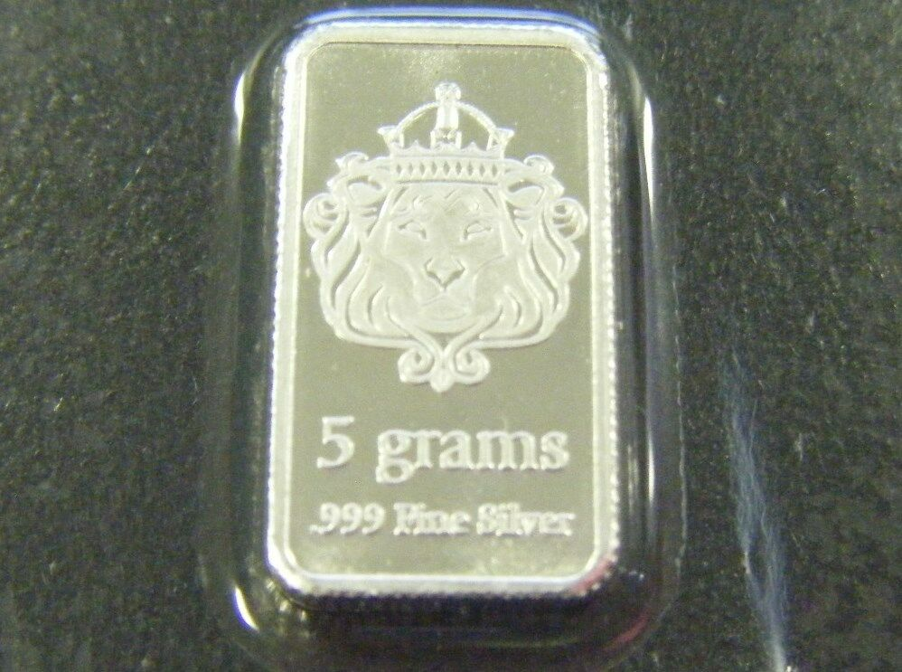 One 5 Gram Scottsdale Silver Bar Five Gram 999 Silver