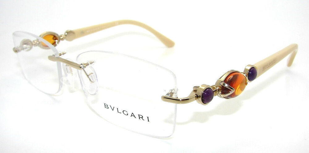 Rimless Gold Eyeglass Frames : Authentic BVLGARI Gold Rimless Eyeglass RX Frame BV 2127B ...