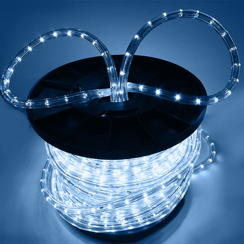 150 39 2 wire cool white led rope light in outdoor home 110v lighting 1 2 party ebay - Exterior led lights for homes ...