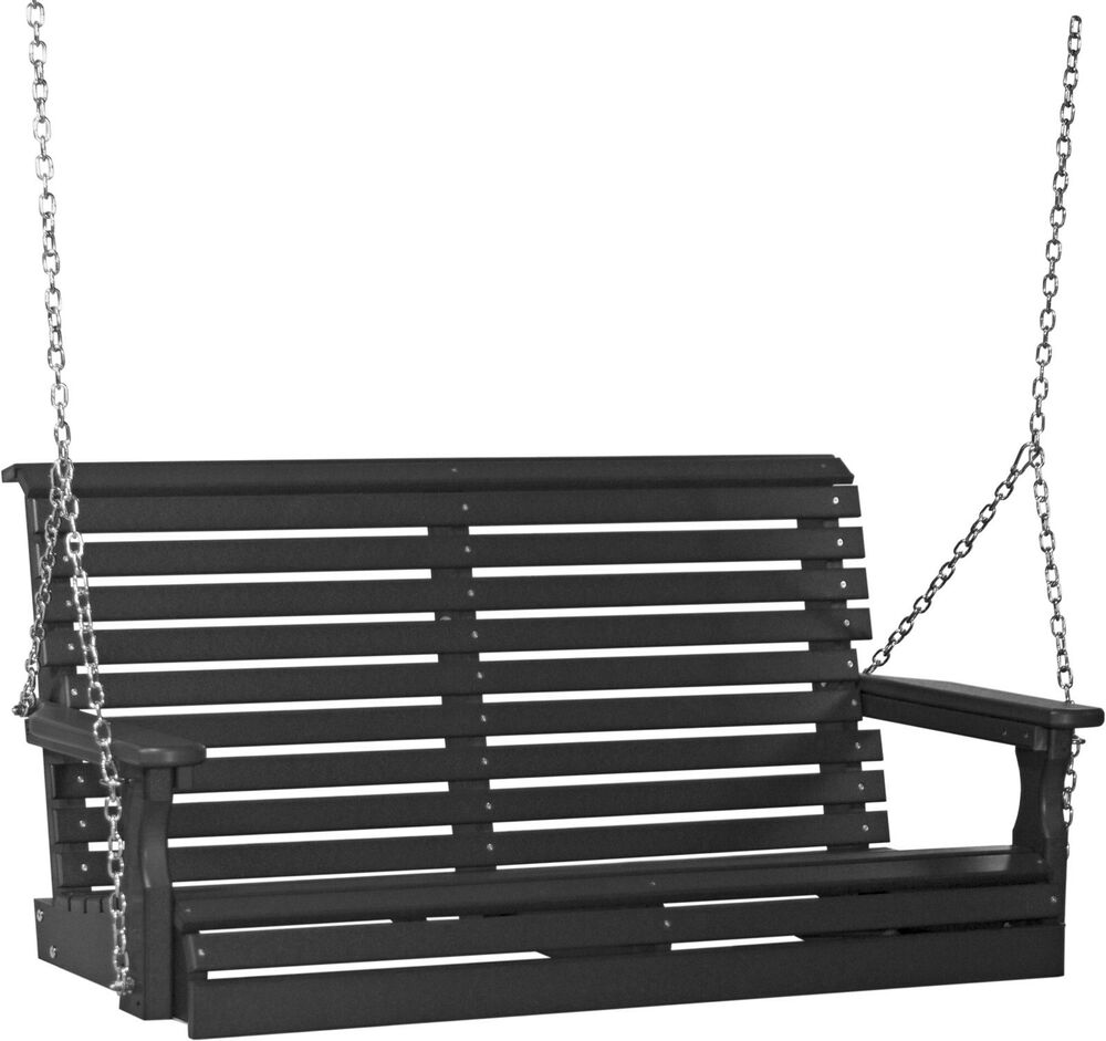 Poly Furniture Wood 4 Foot Rollback Plain Porch Swing