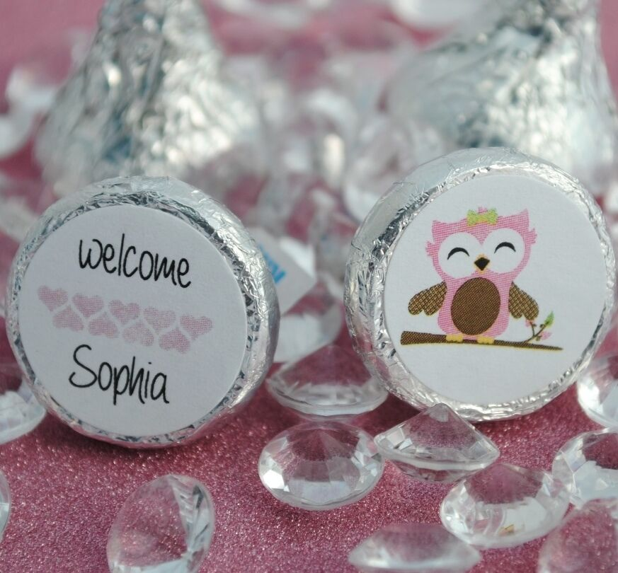 Baby Owl Personalized Name Hershey Kiss Labels Stickers Favors | eBay ...