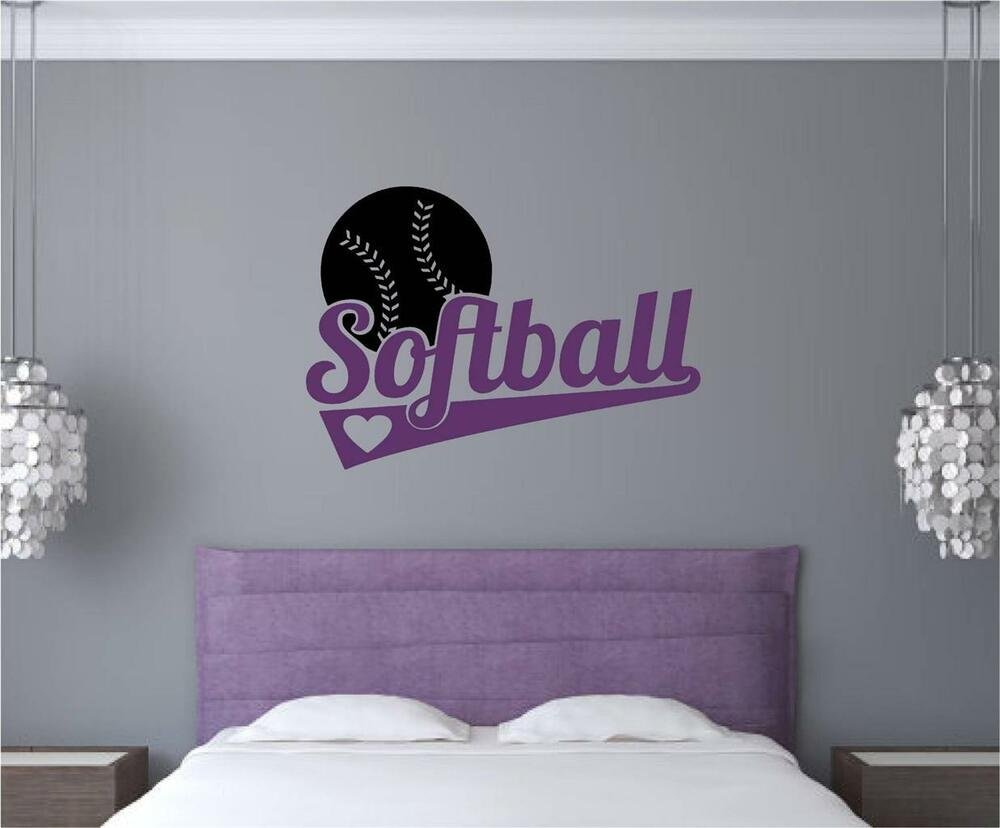 Softball Vinyl Decal Wall Stickers Words Letters Teen Room