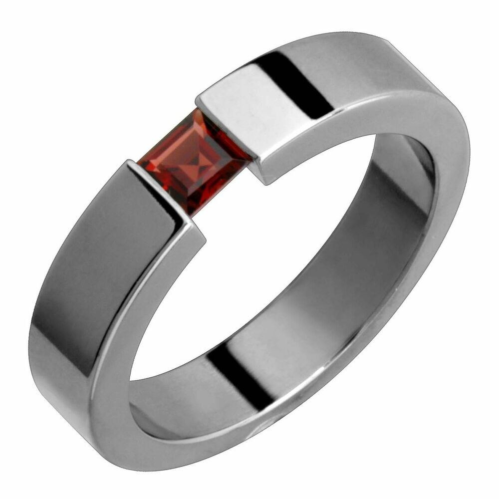 wedding ring bands for her titanium ring garnet tension set 5mm wide handmade 9934