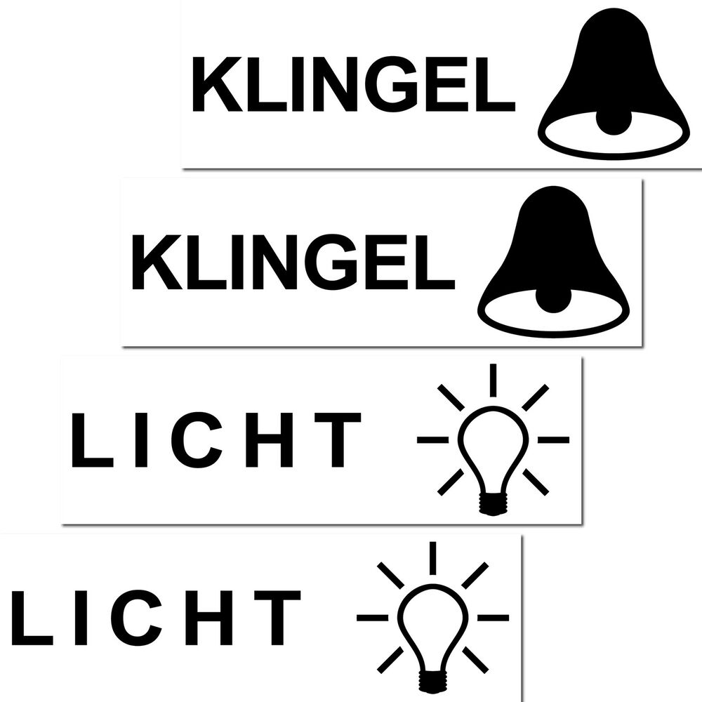 2 sets licht klingen aufkleber sticker briefkasten klingel schalter haust r etc ebay. Black Bedroom Furniture Sets. Home Design Ideas