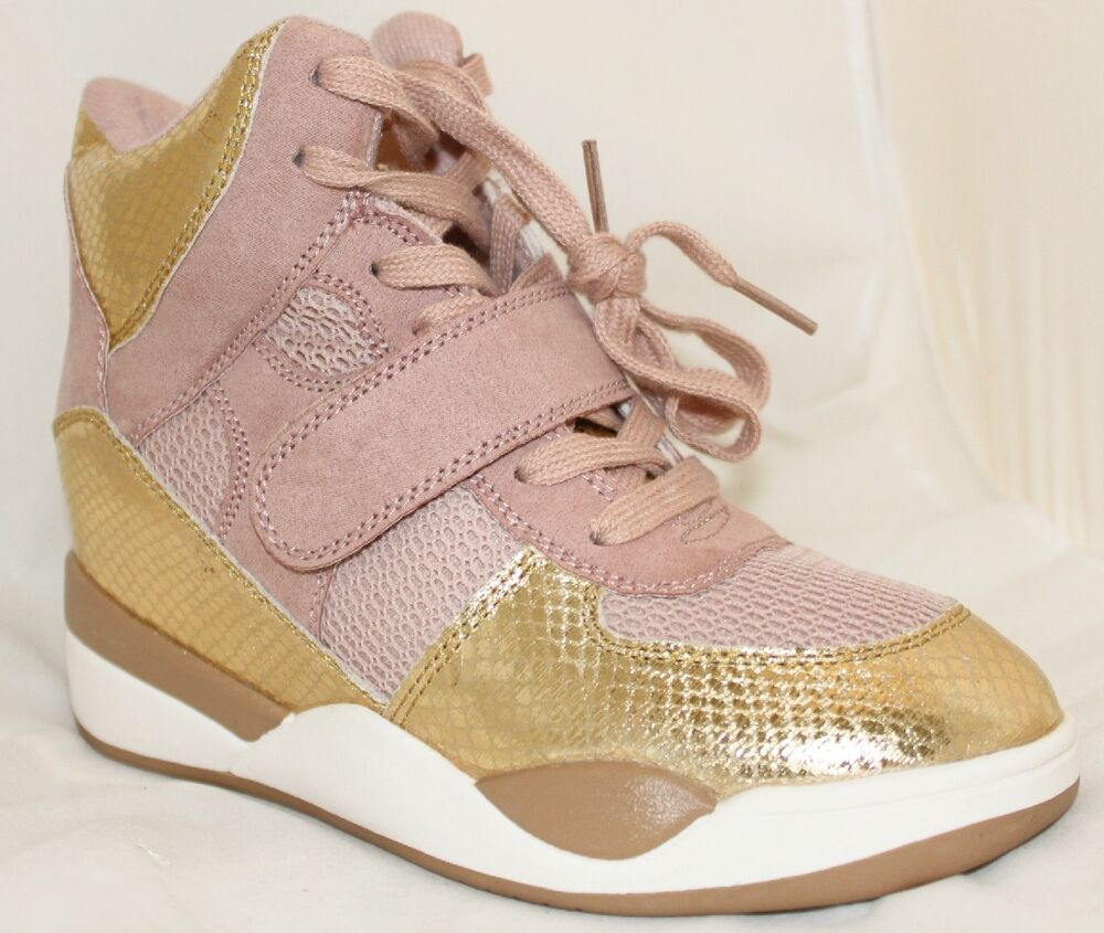 High-Top Fashion Trainers Chic Wedge Sneakers Blush Pink ...