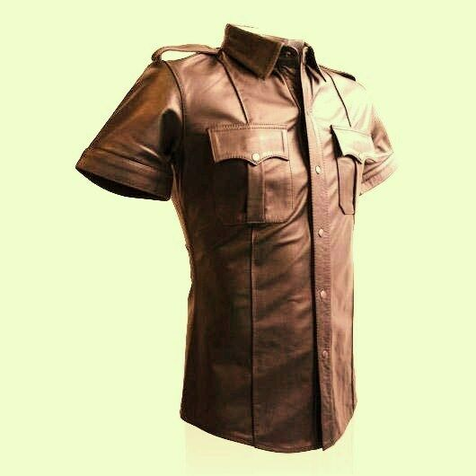Real leather mens brown police military style shirt bluf for Mens shirts with leather