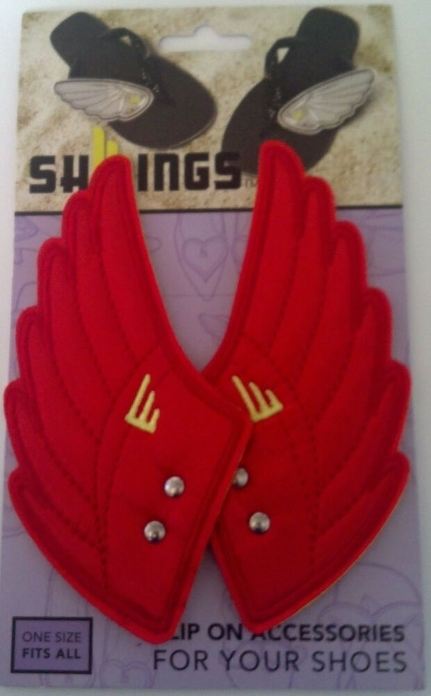 d74088be08 Details about SHWINGS Red clip on Wings for shoes designer Shwings NEW 14102