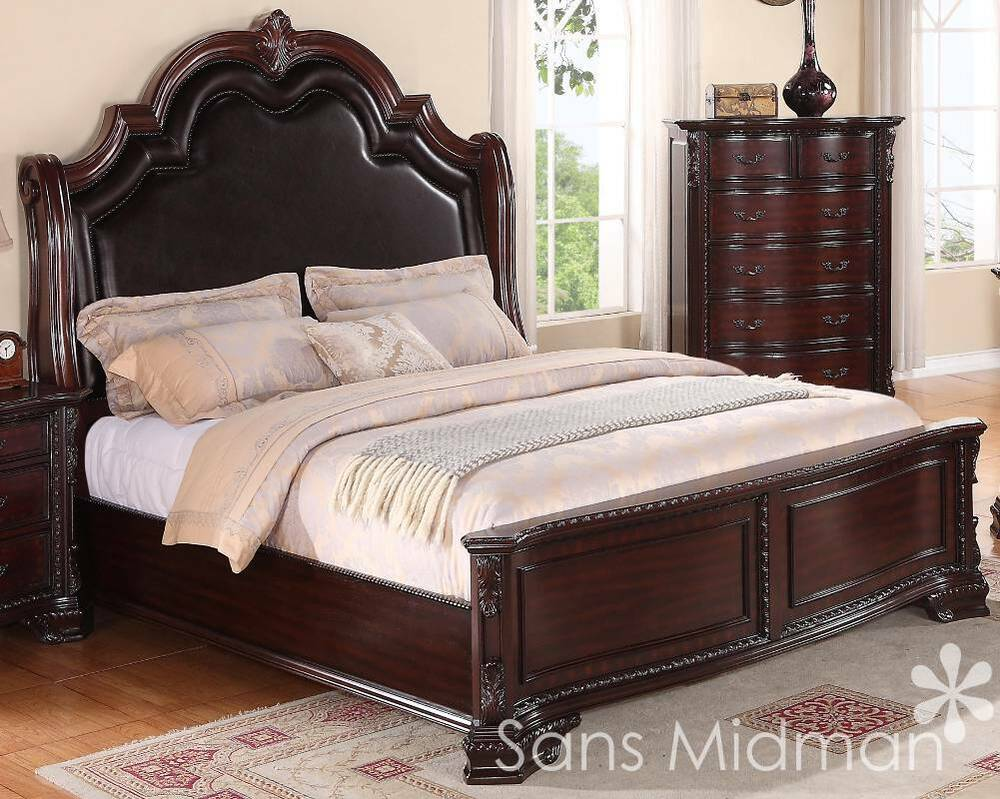 New sheridan collection king size bed traditional cherry for Bedroom sets with mattress