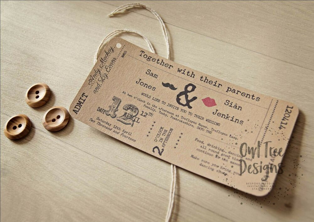 Vintage Rustic Craft Ticket Style Wedding Invitations Stationery SAMPLE EBay